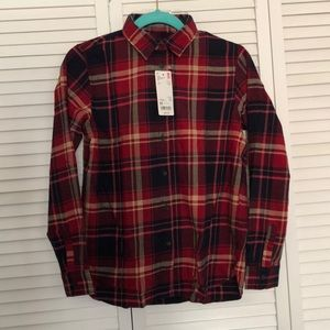 WOMEN flannel plaid long sleeve -red xs UNIQLO